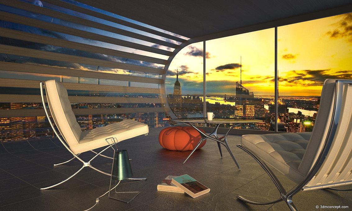 Visualisation Concept 3D - Design d'intérieur Projet Concept a New York - rendu architecture