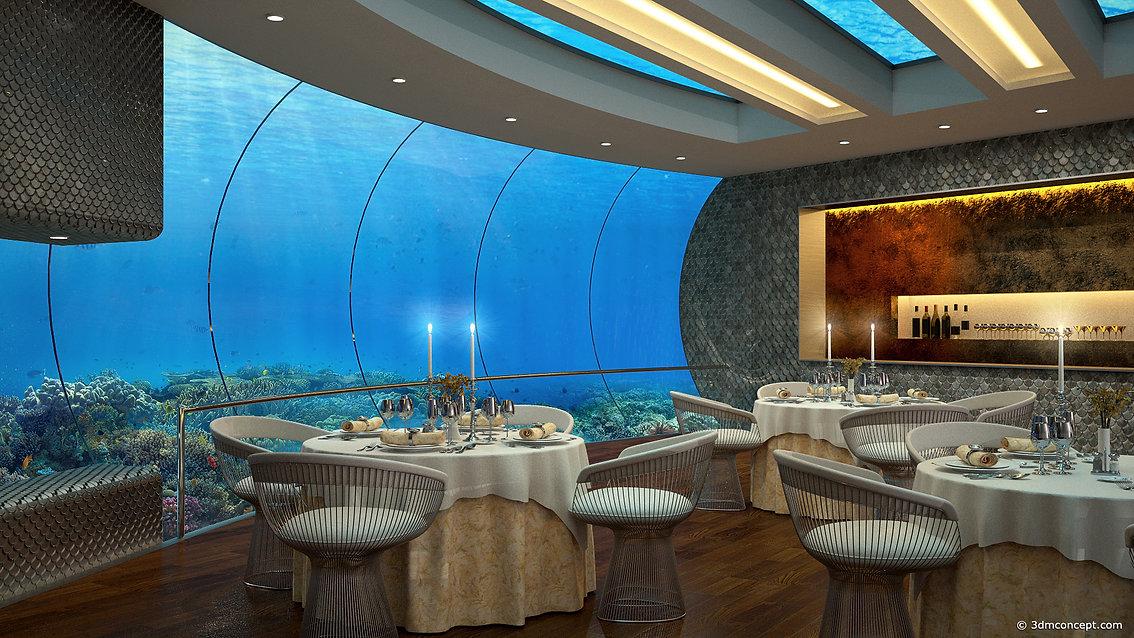 Visualisation Concept 3D - Projet conceptuel d'un restaurant avec vue panoramique sur le fond marin - rendu architecture