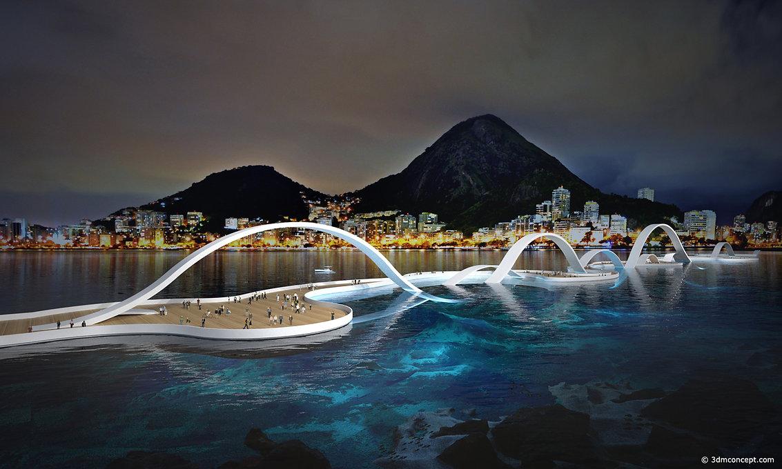 Visualisation Concept 3D - Pont conceptuel au Brésil - Rio de Janeiro - Design et concept avant-gardiste - rendu architecture