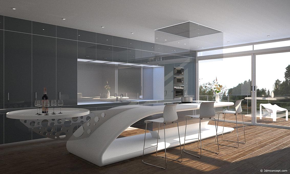 Visualisation Concept 3D - Espace Cuisine Conceptuelle Design d'intérieur - rendu architecture