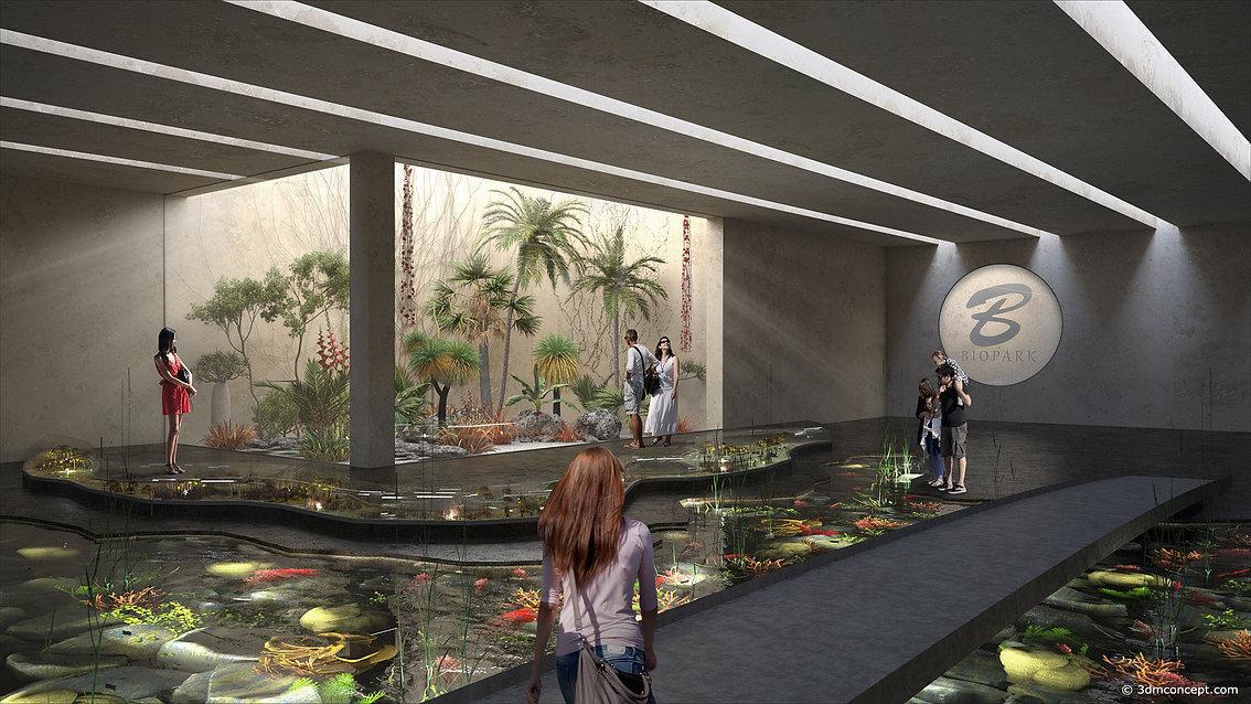 Visualisation Concept 3D - Projet conceptuel d'un bioparc intérieur - rendu architecture