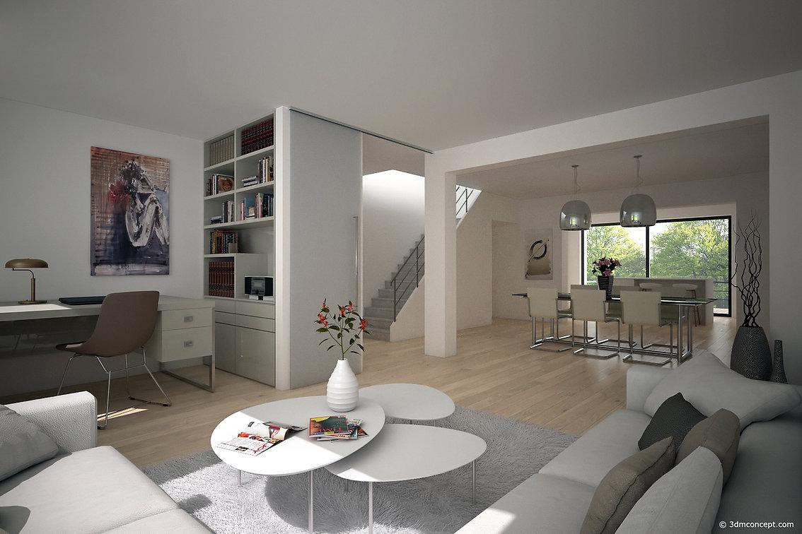 Visualisation Interieur 3D - Sejour d'une maison au Luxembourg - rendu architecture