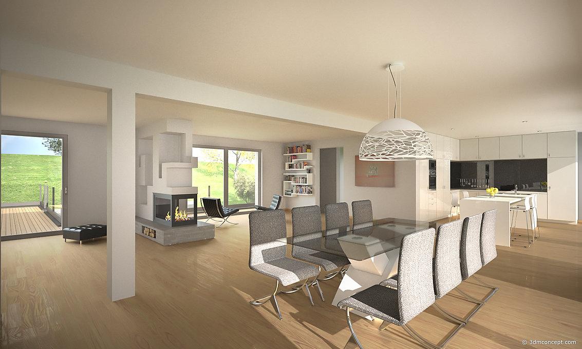 Visualisation Interieur 3D - Villa au Luxembourg, espace salle à manger - rendu architecture