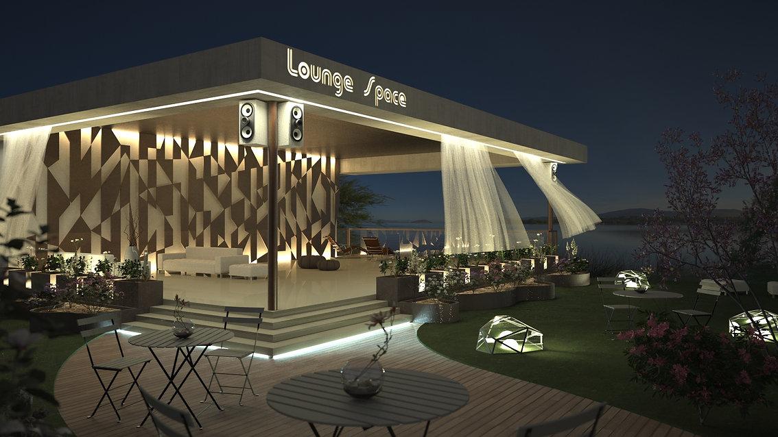 Visualisation Concept 3D - Projet Conceptuel d'un espace Lounge extérieur - Lac de Côme - Italie - rendu architecture