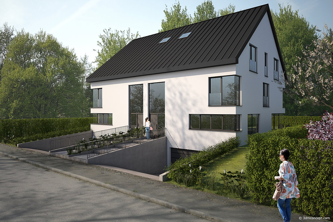 3D Exterior Visualization - Single Family House in Luxembourg, Front View - architectural rendering