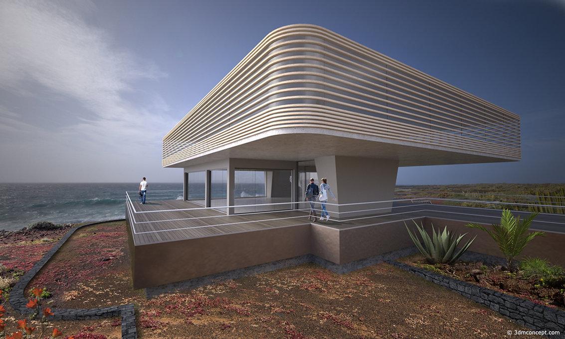 Visualisation Concept 3D - Projet conceptuel d'un Belvédère dans les Îles Canaries - rendu architecture