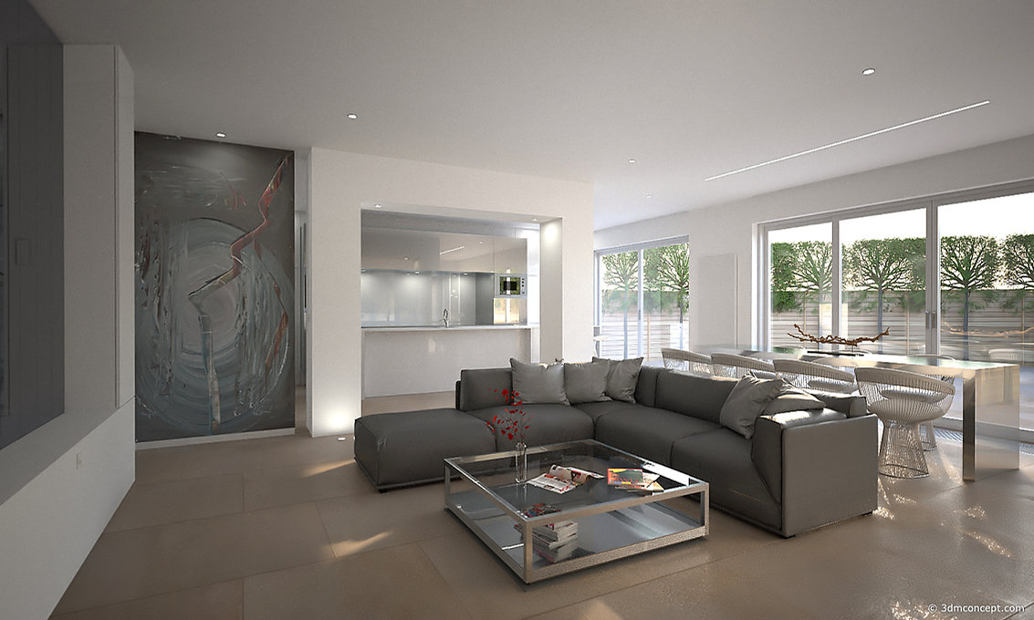Visualisation Interieur 3D - Appartement à Bruxelles, Espace ouvert et design - rendu architecture