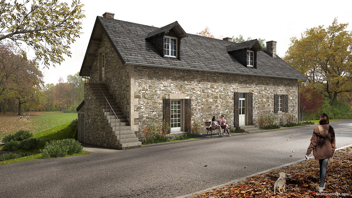 3D Exterior Visualization - Rural house in Burgundy-Franche-Comté region, France, Front View - architectural rendering