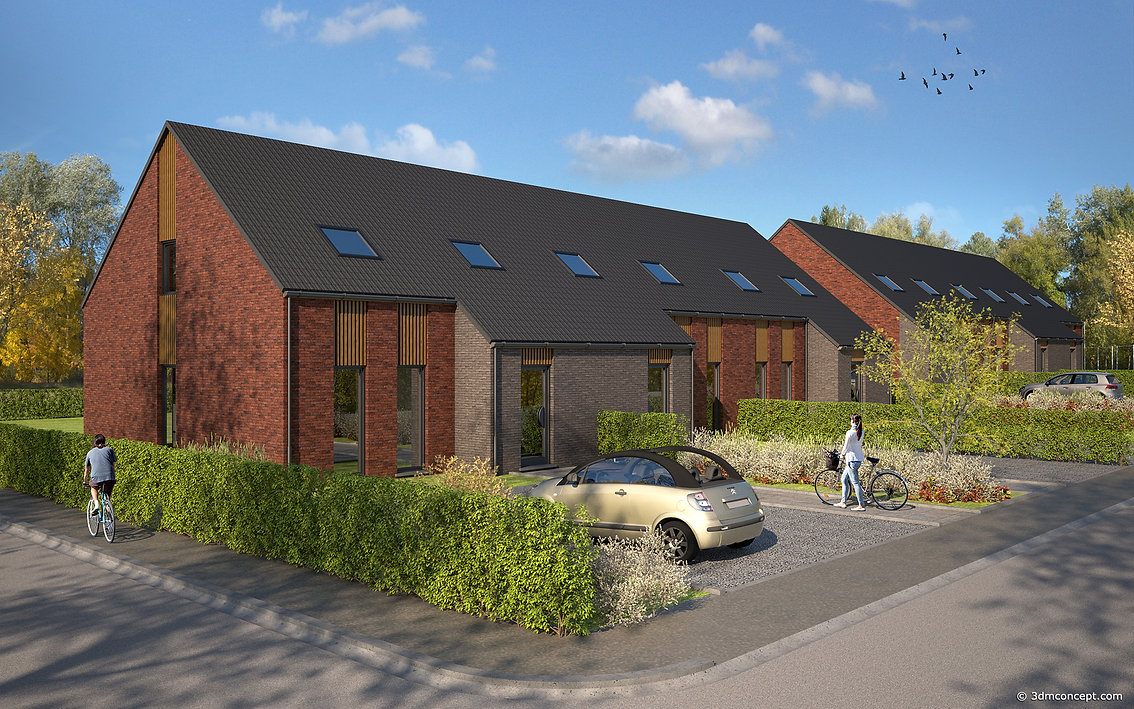 3D Exterior Visualization - Set of two blocks of three single-family houses in Belgium / Tournai - architectural rendering