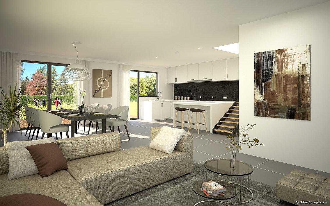 Visualisation Interieur 3D - Maison unifamiliale en Belgique - rendu architecture