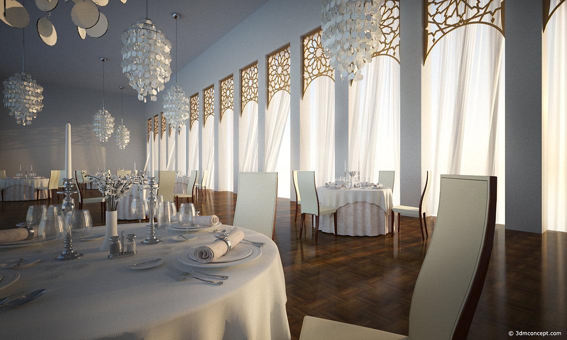 Visualisation Concept 3D - Projet Conceptuel d'un restaurant à Dubaï - rendu architecture