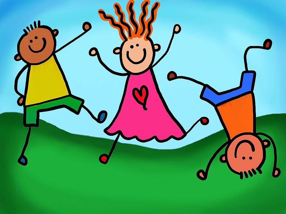 dessin d'enfants qui jouent dans l'herbe
