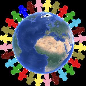 des hommes colorés autour de la terre