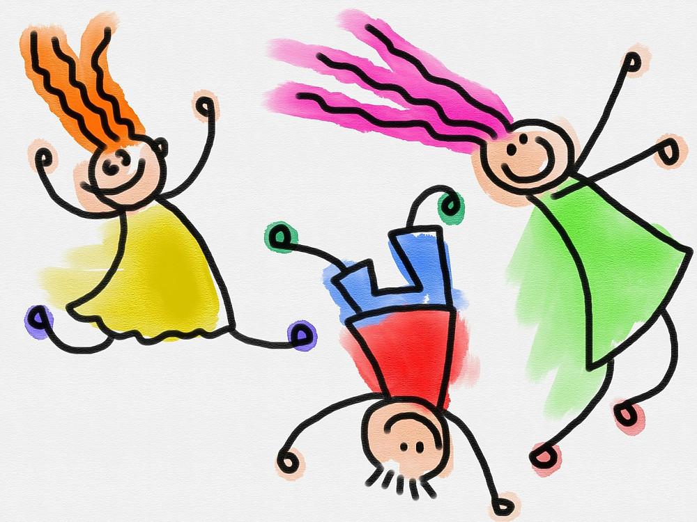 dessin d'enfants heureux