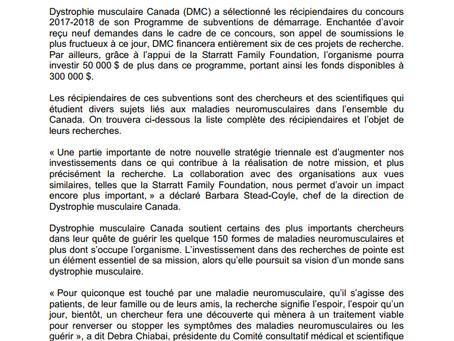 Dystrophie Musculaire Canada annonce les gagnants 2017-2018 de son Programme de subventions de démar