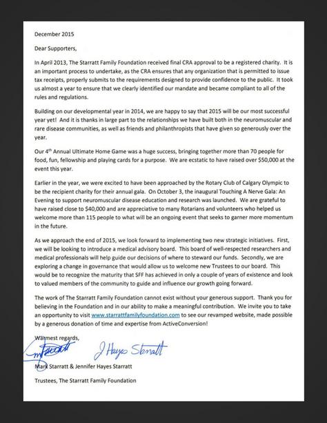 Starratt Family Foundation's Annual Letter