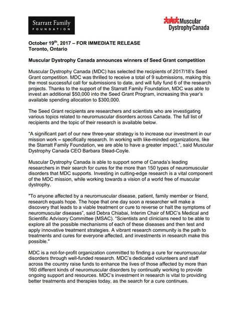 Muscular Dystrophy Canada announces winners of Seed Grant Competition