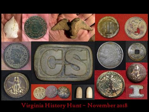 Virginia History Hunt November 2018 Highlights