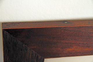handfinished: eco-friendly redwood stain on salvaged vintage floorboards