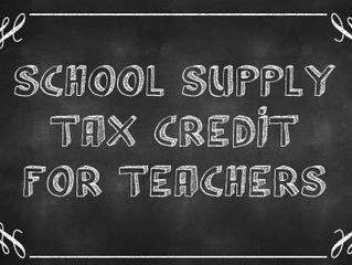 NEW:  Eligible Educator School Supply Tax Credit