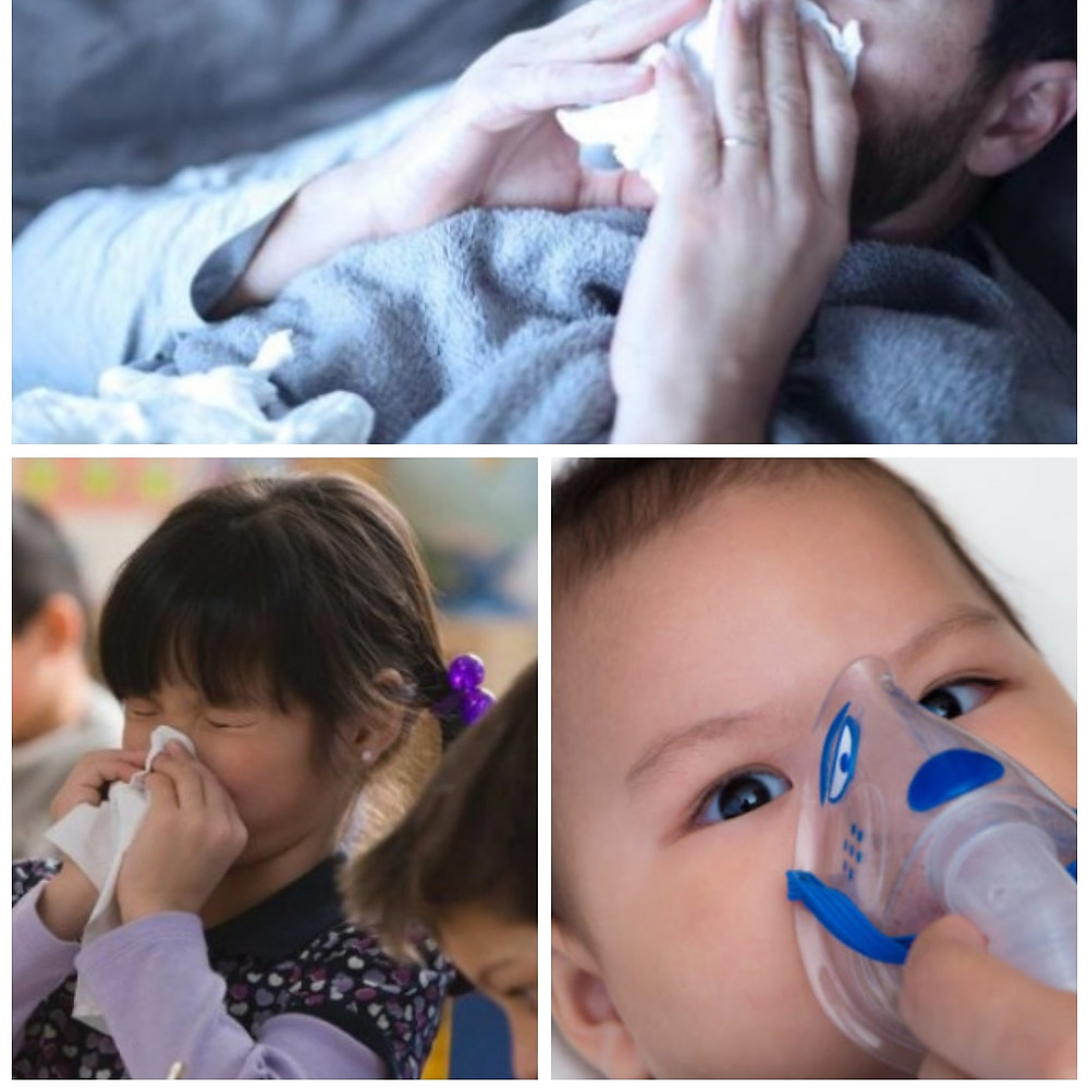 Winter wellness tips to avoid the flue, three images of children with the flu