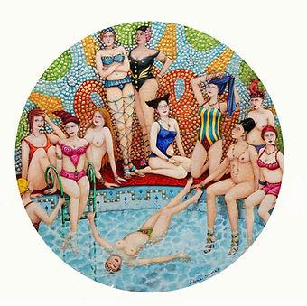 les nageuses intrepides, aquarelles et feuille d'or diam.18cm