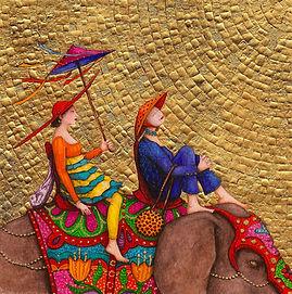 balade éléphant, aquarelle et feuille d'or