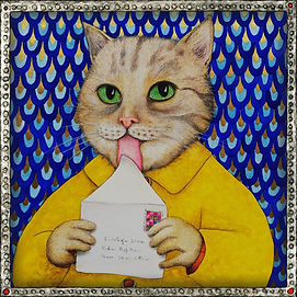La lettre, chat, aquarelle valerie dumas