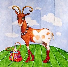 chèvre, aquarelle valerie dumas