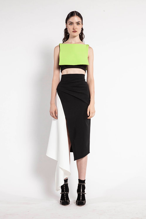 Lime and Black Square Crop Top