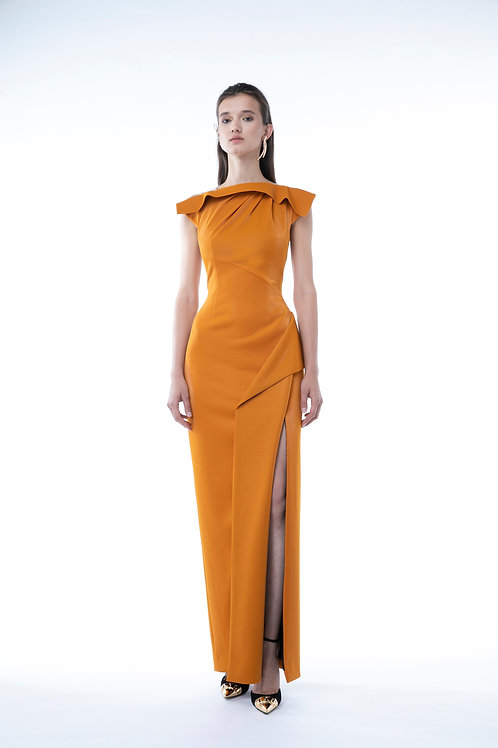 Tangerine Draped Neckline Long Dress
