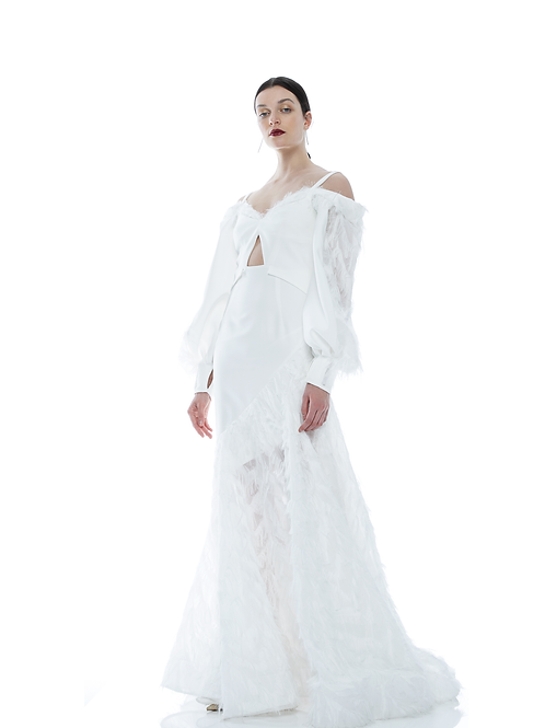 FEATHERS ASYMMETRIC GOWN