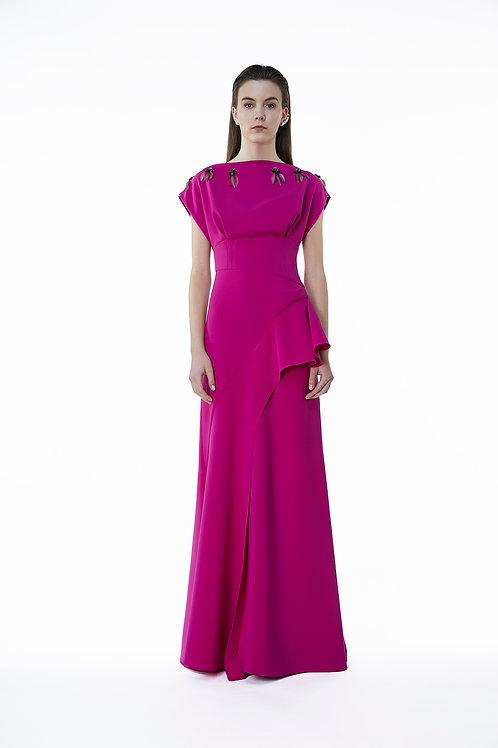Draped Embroidery Dress
