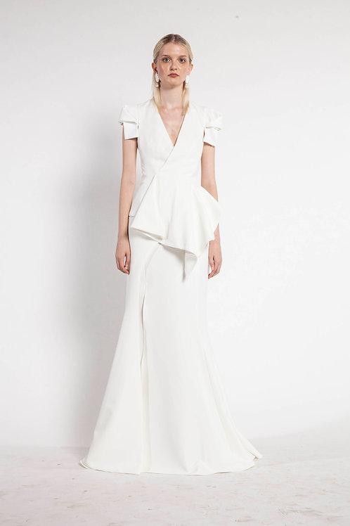 White Long Layer Basquine Skirt