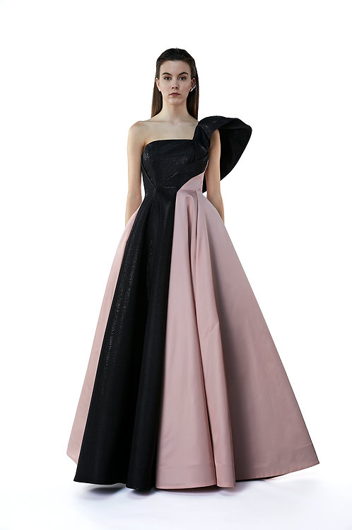 Faille Block Gown