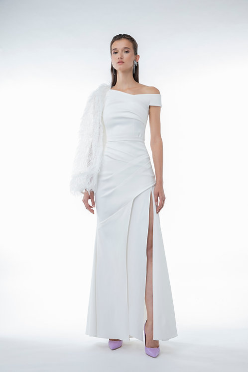 Draped Slit Long Skirt