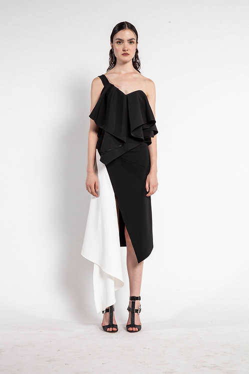 Black Asymmetric Layered Top