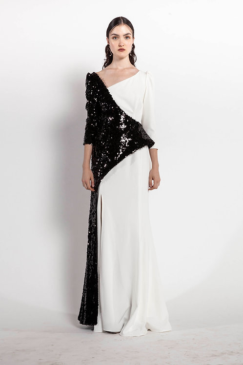 White and Black Long Asymmetric Basque Dress