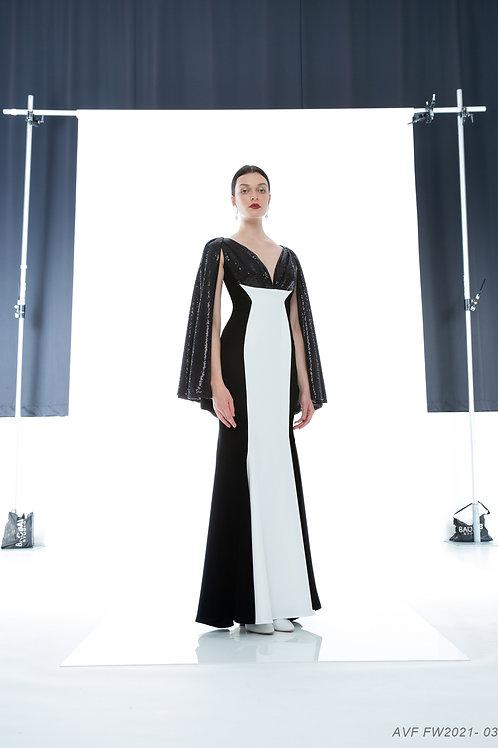 CAPE SEQUINS SILHOUETTE DRESS