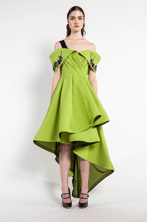 Lime and Black Embroidered Drop Neck Dress