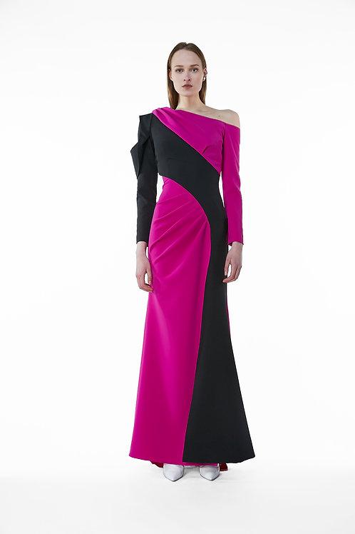 Petal Monoshoulder Block Dress