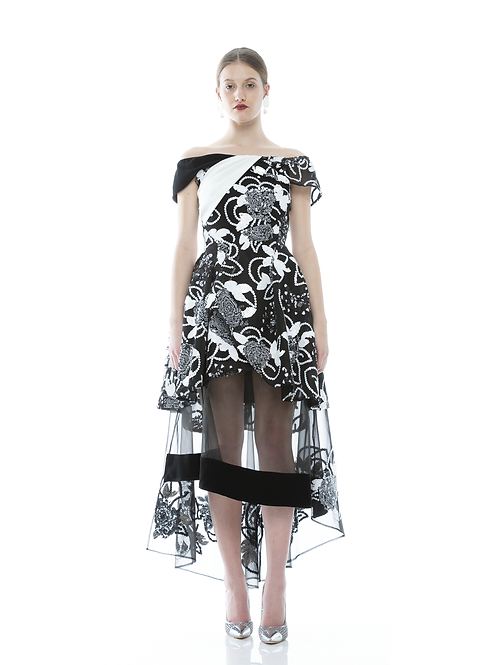 FLORA SEQUINS SEE THROUGHT MIDI DRESS