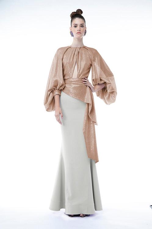 Caramel Silhouette Top and Tailored Ecru Skirt