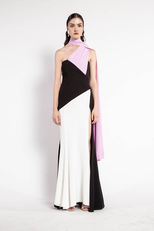Pink White and Black Long Cape Block Color Dress