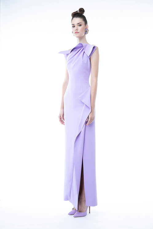 Draped Neckline long dress