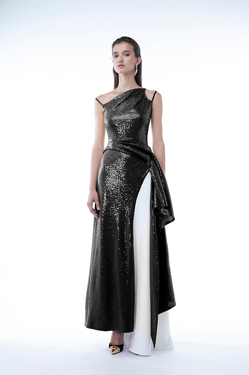 Black  Bretelle Sequins Dress