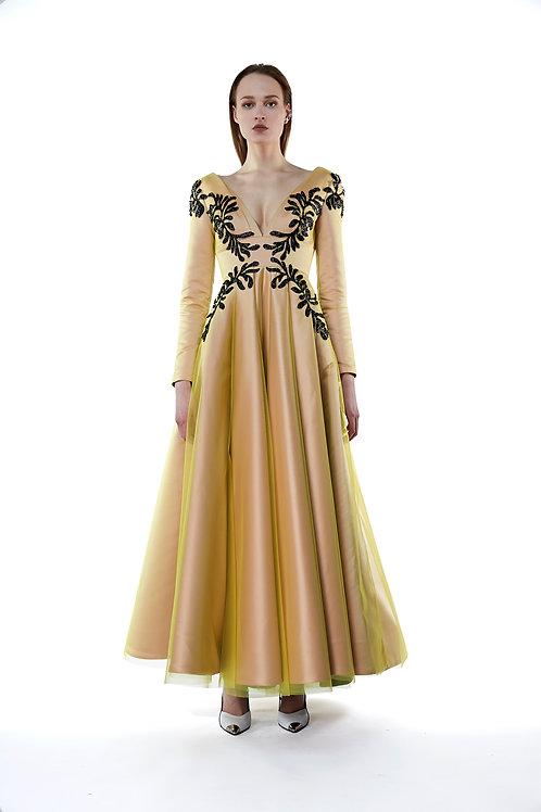 Leaf Embroidered Tulle Midi Dress
