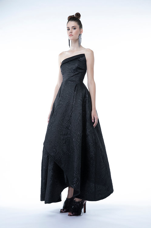 Black Tulip Shape Midi Gown