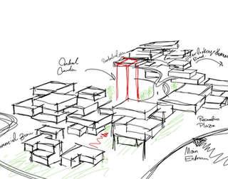 Hybrid City Civic Center | Architectural Conceptual Sketch