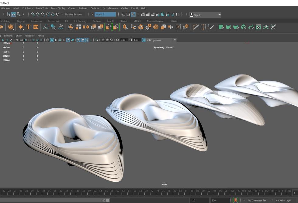 Exploring Fluid Formations using Autodesk Maya